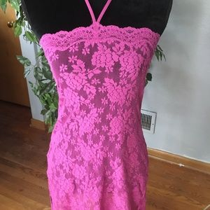 Victoria Secret pink lace stretchy nightie